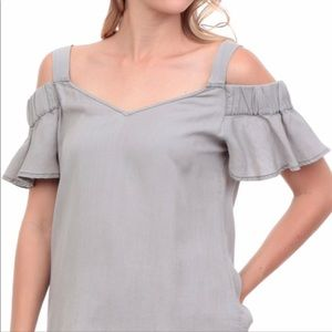 Rayna Cold Shoulder Ruffle Sleeve Blouse
